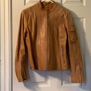 Camel colored leather Motercycle jacket